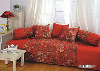 Swayam Wine and Yellow Colour Floral Diwan Set with Bolster and Cushion Covers (Set of 6)