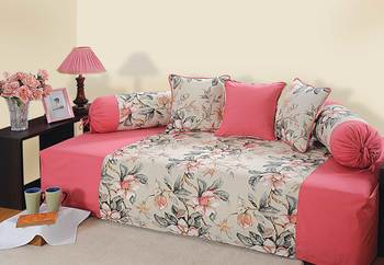 Swayam Pink and Peach Colour Floral Diwan Set with Bolster and Cushion Covers (Set of 6)