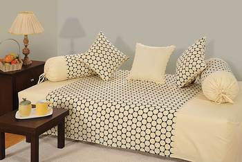 Swayam Cream and Black Colour Geometrical Pattern Diwan Set with Bolster and Cushion Covers (Set of 6)
