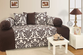 Swayam Brown and Off White Colour Floral Diwan Set with Bolster and Cushion Covers (Set of 6)