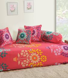 Buy Swayam Pink and Blue Colour Floral Diwan Set with Bolster and Cushion Covers (Set of 6) home-furnishing online
