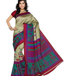 Buy Rani Pnik and Beige Color Art Silk Saree with Blouse printed-saree online
