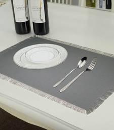 Buy Reversible Fringe Placemats, Grey & Cream (Pack of 6) table-mats-runner online