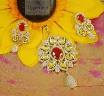 Kundan  CZ Ruby Pendent Earring jewellery