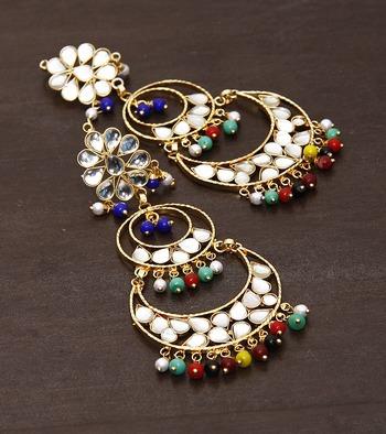 Golden Color Kundan Embellished Dangler Earrings 217ED32