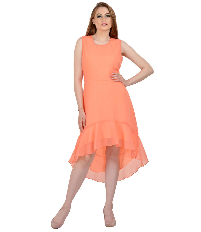 8823a97a1f9d Peach Plain Stitched Georgette Assymetric Casual dresses - Karmic Vision -  2278278