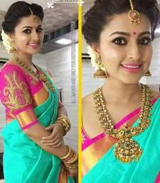 Buy Green plain chanderi saree with blouse chanderi-saree online