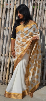 Golden zari Saree
