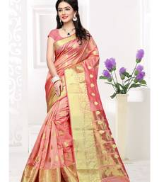 Peach hand woven cotton silk saree with blouse