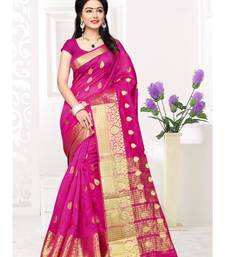 Pink hand woven cotton silk saree with blouse