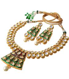 Red Green Royal Kundan Enamel Work Heavy Necklace Set