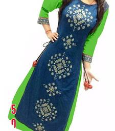 Green embroidered silk semi-stitched party wear gowns