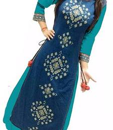 Sky blue embroidered silk semi-stitched party wear gowns
