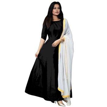 Black plain silk semi-stitched party wear gown