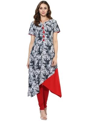 Grey Printed cotton stitched kurti
