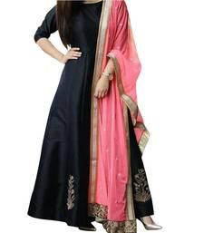 Buy Fabron Black Designer Embroidered Party Wear Semi Stitched Anarkali Suit anarkali-salwar-kameez online