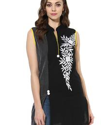 Black Embroidered cotton stitched kurti