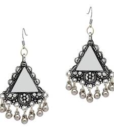 Silver Color Mirror Work Oxidised Earrings