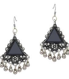 Black Color Mirror Work Oxidised Earrings