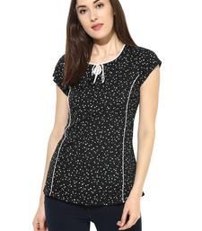 Buy Black printed Rayon stitched kurti short-kurtis online