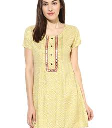 Yellow printed Rayon stitched kurti
