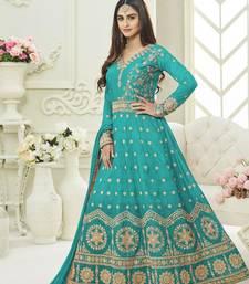 Buy Sky blue embroidered silk salwar anarkali-salwar-kameez online