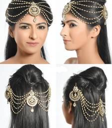 Buy Exclusive Design Gold Finish Kundan and Pearl Fancy Matha Patti maang-tikka online
