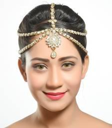 Buy Ethnic Designer 2 Line Matha Patti For Wedding Gold Finishing with Pearl Stone maang-tikka online