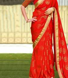Buy Red embroidered silk saree with blouse kerala-saree online