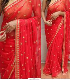 Buy Red embroidered georgette saree with blouse south-indian-saree online