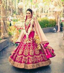 Buy Pink embroidered dupion silk unstitched lehenga with dupatta lehenga-choli online