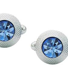 Round Blue Rhodium Plated Brass Cufflink Pair for Men