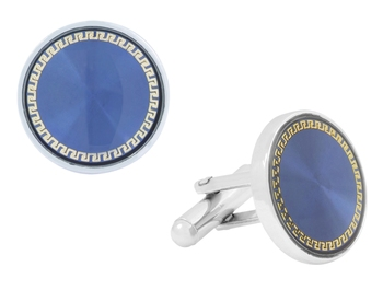 Round Blue Gold Rhodium Plated Brass Cufflink Pair for Men