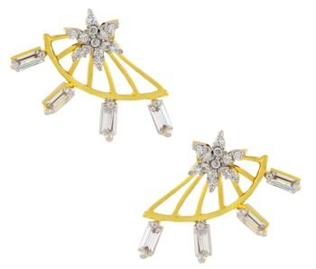 Flower American Diamond CZ Baguette Gold Plated Ear Cuff Pair Jacket Earring for Women