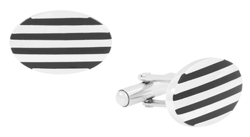 Stripes Oval Black Silver Enamel Rhodium Plated High Quality Brass Cufflink Pair for Men