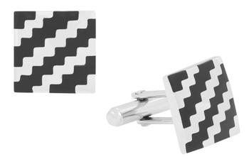 Wave Checks Square Black Silver Enamel Rhodium Plated High Quality Brass Cufflink Pair for Men