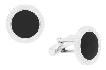 Round Black Enamel Rhodium Plated Brass Cufflink Pair for Men
