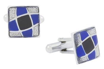 Square blue black enamel checks rhodium plated cufflink for men
