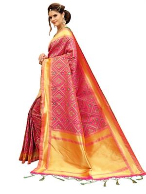 Pink And Green  Banarasi Woven Patola Style Saree With Blouse