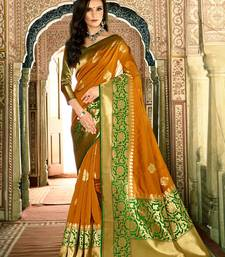 Buy Dark mustard woven silk saree with blouse silk-saree online