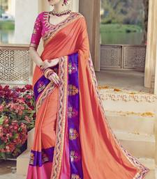 Buy Peach embroidered kanchipuram silk saree with blouse wedding-saree online