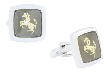 Horse Glossy Rhodium Plated Square Grey Gold Cufflink Pair For Men