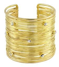 Party Statement Mesh Imported 18K Gold CZ Free Size Cuff Kada Bangle Bracelet Girls Women