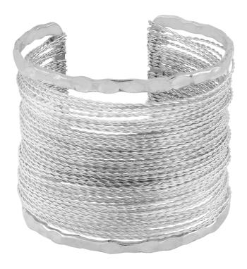 Party Statement Mesh Imported Rhodium Silver Free Size Cuff Kada Bangle Bracelet For Girls Women