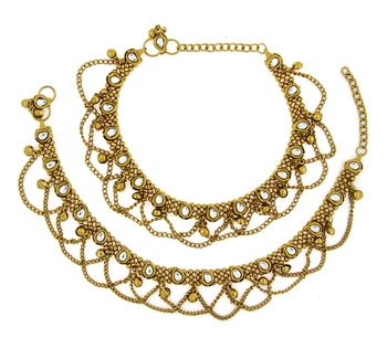 anique gold plated kundan traditional payal anklet