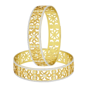 Filigree Flower Gold Plated Matte Rhodium Bangle Pair for Women