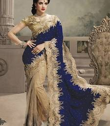 Buy Blue embroidered net saree with blouse designer-embroidered-saree online