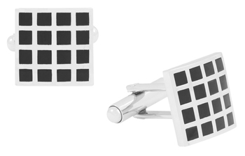 black silver chequered square cufflink pair