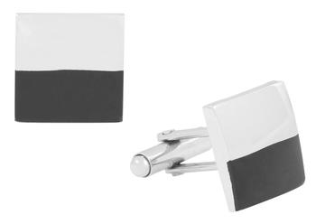 half and half black silver square cufflink pair