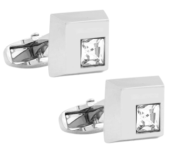 squae matt princess cut american diamond studded cufflink pair